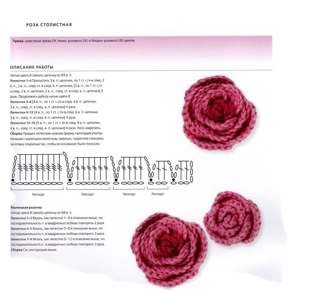 вязать цветы спицами схемы описание