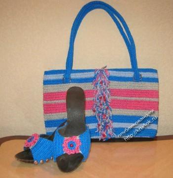 фото вязаной крючком сумочки и сабо