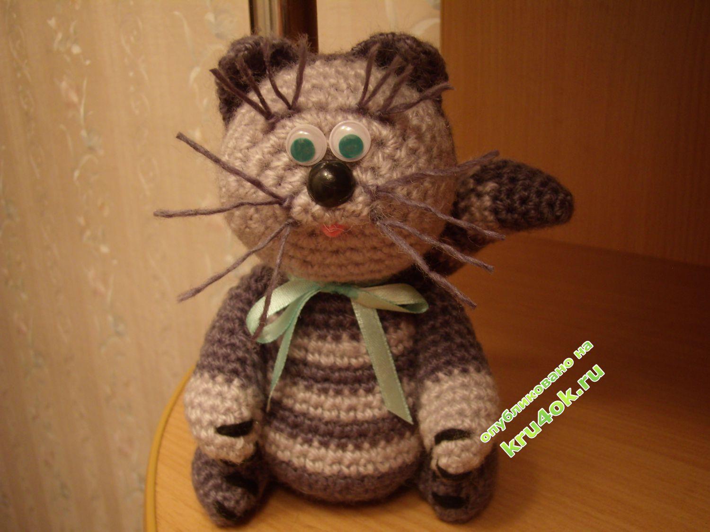 Вязание игрушек кошек крючком