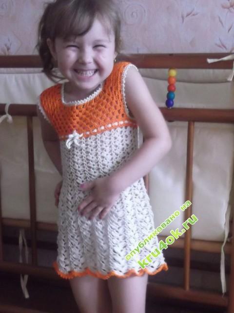 детский сарафан крючком фото