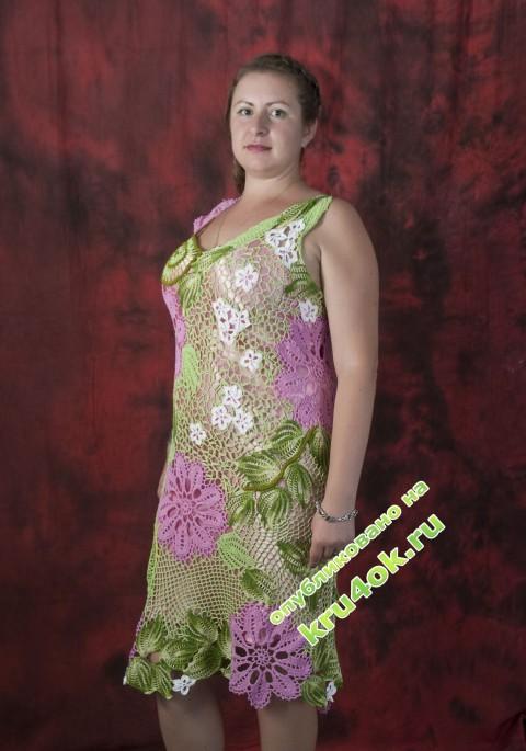 Вязаное платье крючком фото