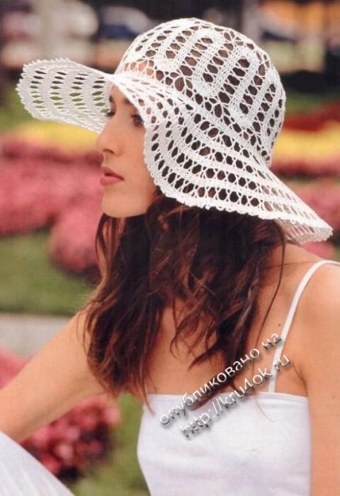 фото ажурной шляпы крючком