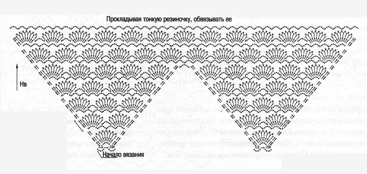 схема вязаного крючком платья