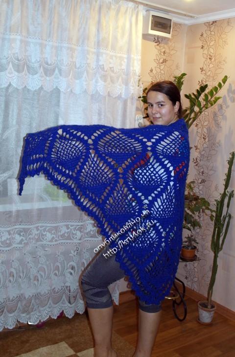 Синяя шаль с узором