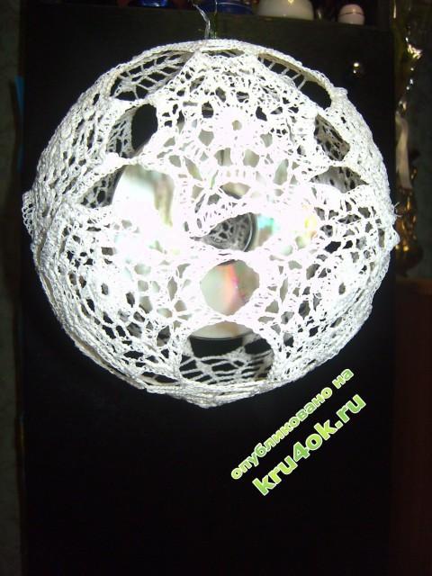 Ёлочный шар крючком фото