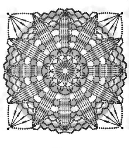 Схема вязания мотива для шали