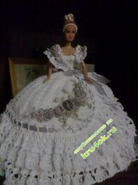 вязаное платье для барби фото