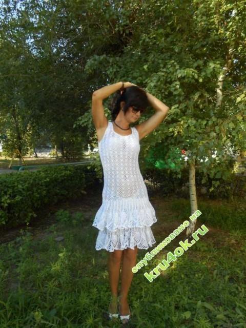 фото вязаного крюком платья
