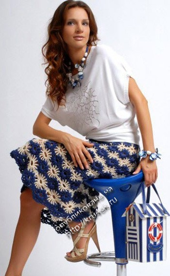 фото вязаной крючком юбки