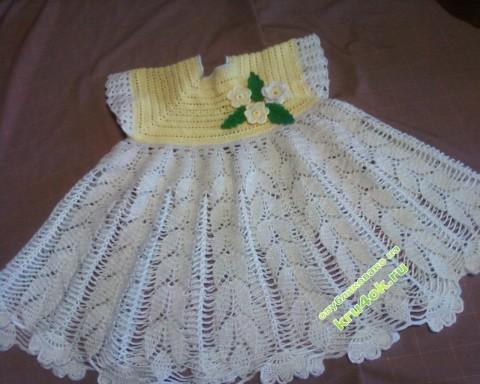 Платье, шапочка и туфельки для малышки