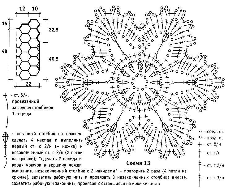 Схемы для вязания крючком мотивов цветов 176