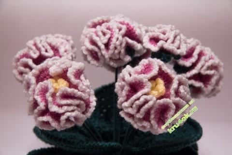 Цветы в горшочке вязаные крючком