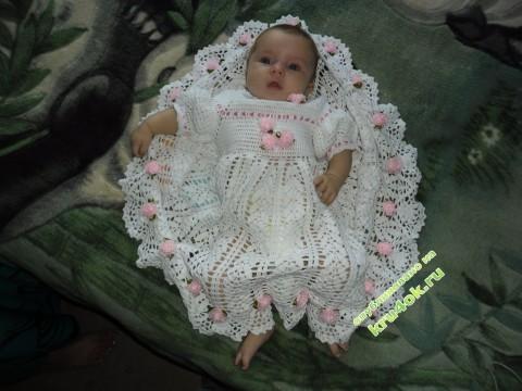 Крестильное платье, связанное крючком фото