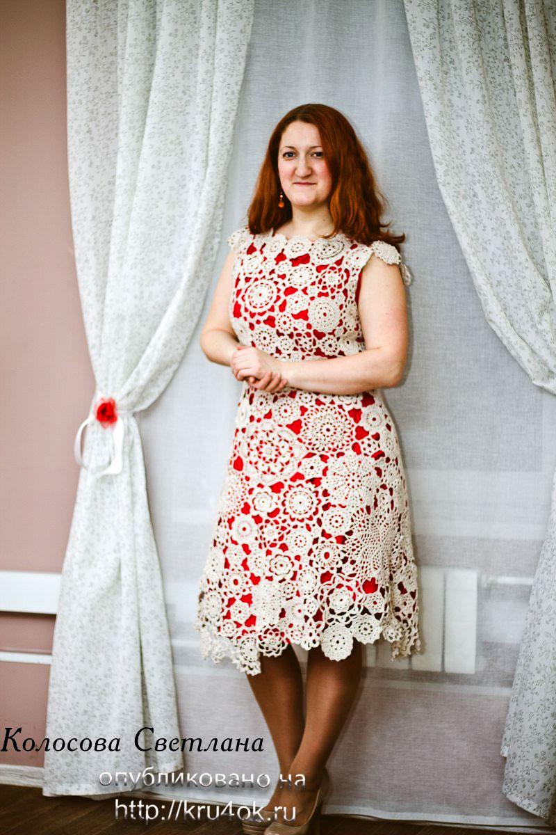 вязаное крючком кружевное платье схемы вязания и описание