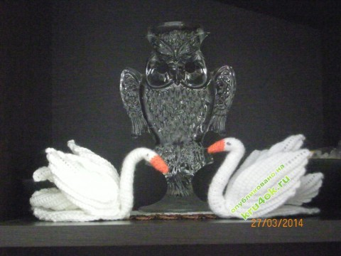 Вязание салфетки крючком лебеди