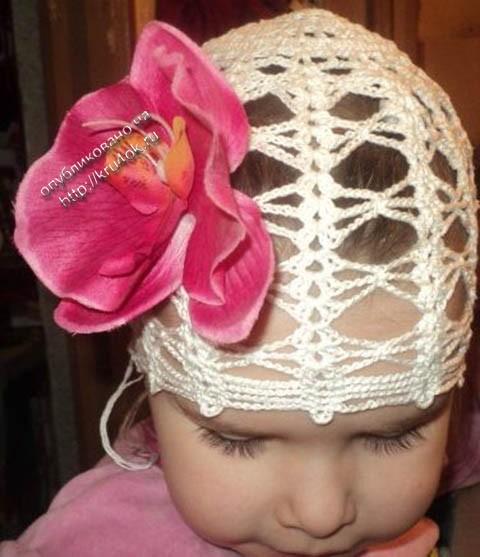 Винтажная панамка для девочки- работа Ирины