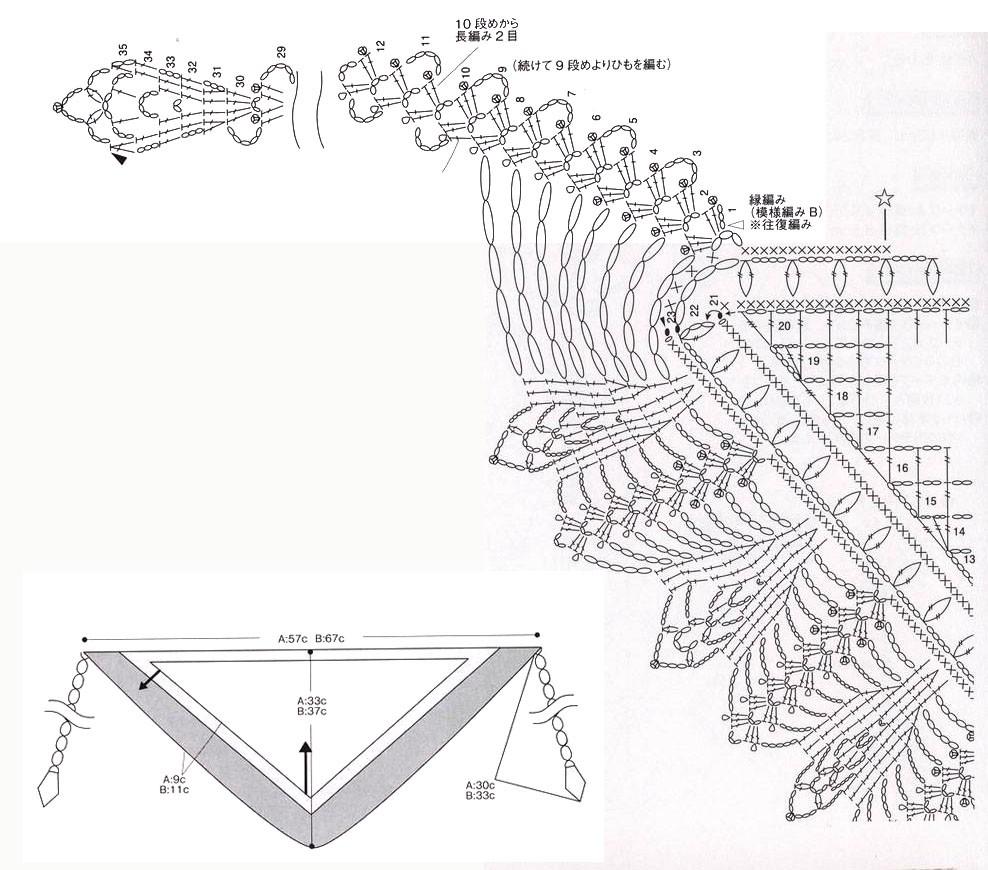 крючком бактус ажурный схема