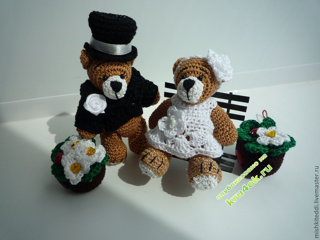 Свадебные мишки - игрушки крючком