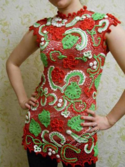 Вязаное крючком ажурное платье