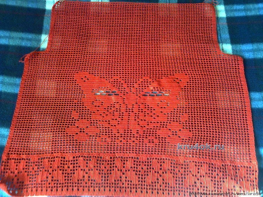 Красная вязаная туника
