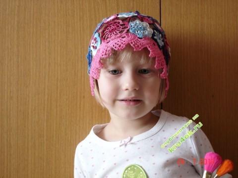 Летняя шапочка для девочк - работа Татьяны Скаловой