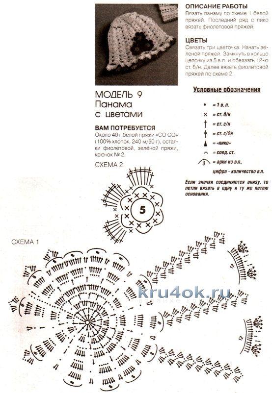 Как связать панамку крючком схемы и описание