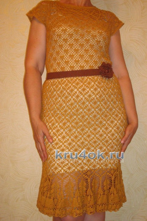 Вязаное крючком платье - работа Анжелы