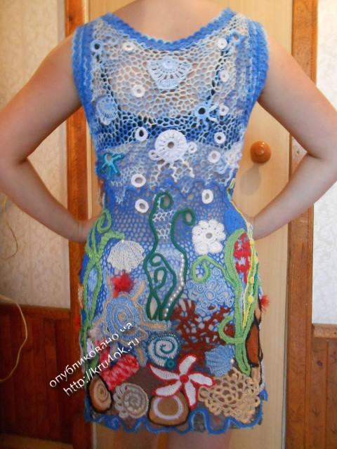 Вязаное крючком платье в технике ирландского кружева