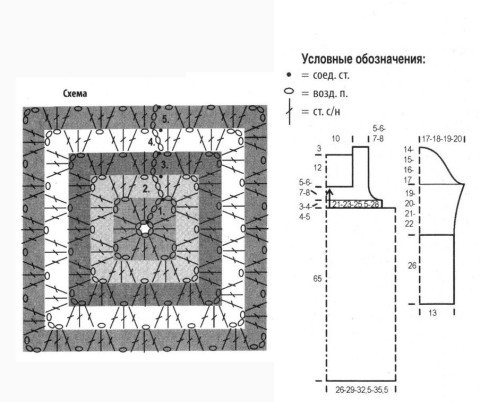 Схема вязания и выкройка туники