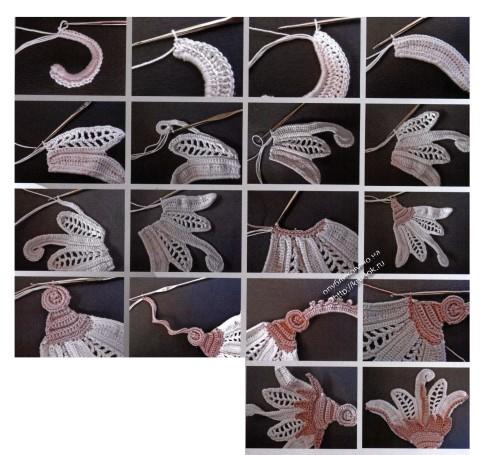 вязание крючком мотива лотоса
