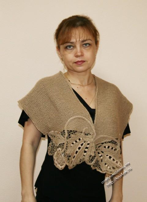 шарф с элементами ирландского кружева