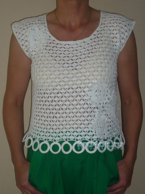 Беля блузка крючком - работа Беляевой Татьяны