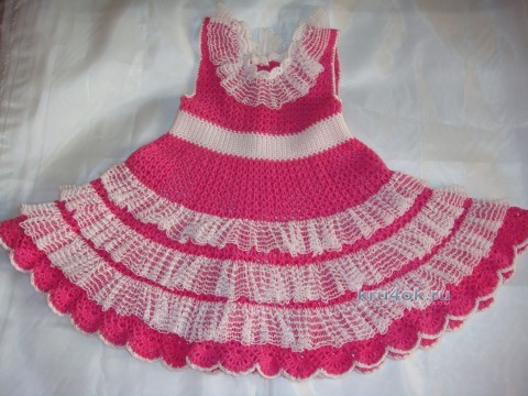 Платье для девочки связанное крючком - работа Елены