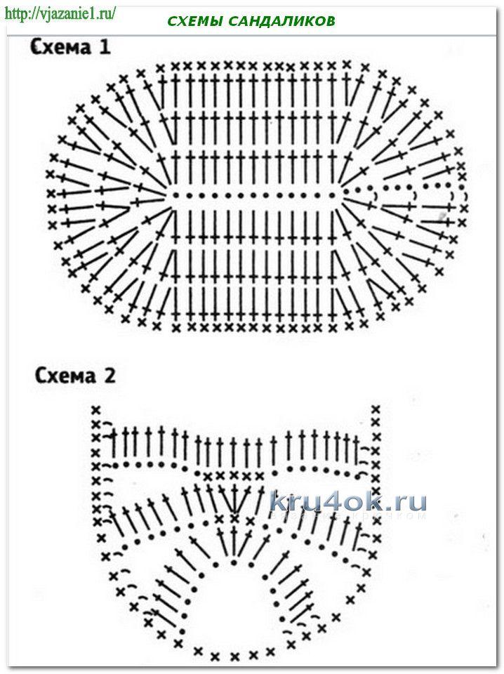 Схемы вязания пинеток крючком сандалики для