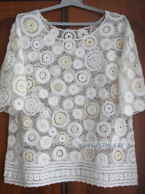 Блуза большого размера связанная крючком - работа Анны