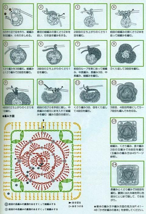 Схема ажурного цветка в квадратном мотиве: