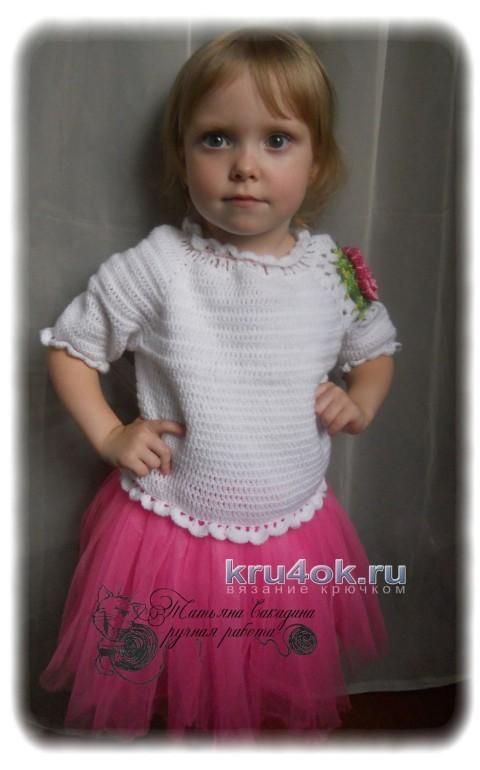 Детский пуловер с ажурным цветочным мотивом
