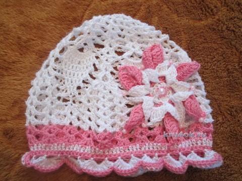 Ажурная шапочка для девочки - работа Натальи