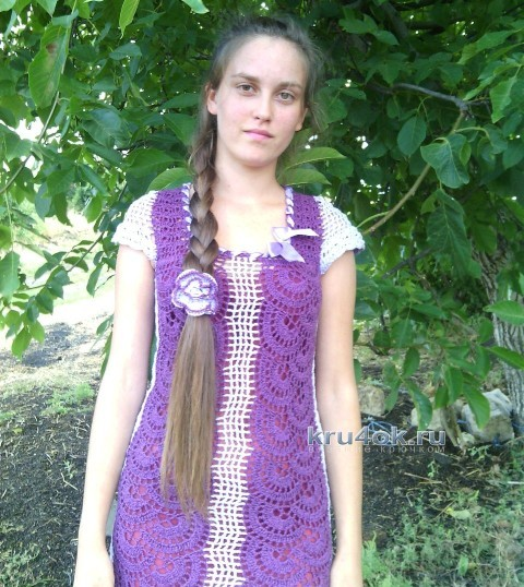 вязаное платье в технике ленточного кружева