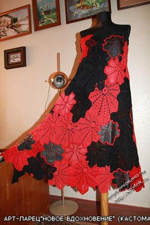 вязаная крючком юбка - сарафан