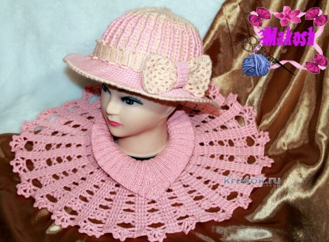 Теплая шляпа и манишка крючком