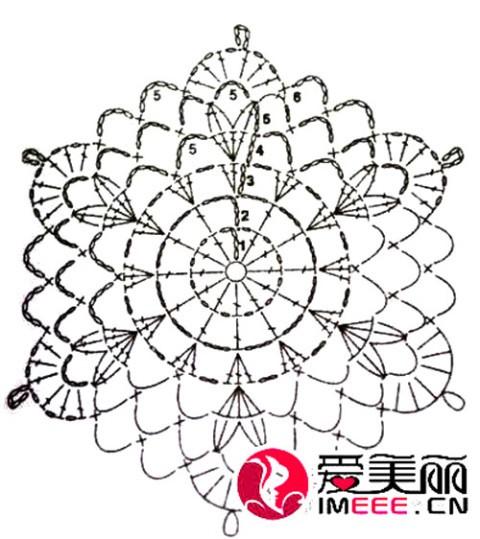 Схема вязания мотива для кофточки: