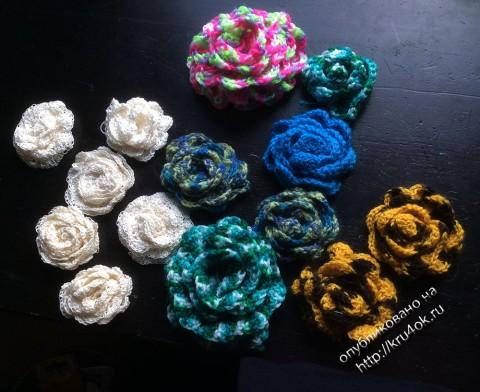Вязаные крючком цветы - работы Александры
