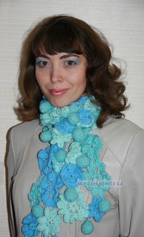фото ажурного шарфа Лазурь