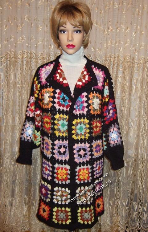 Пальто из мотивов бабушкин квадрат