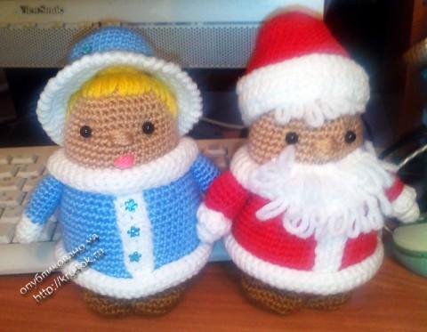 Дед мороз и снегурочка крючком