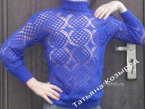 Ажурный пуловер крючком - работа Татьяны