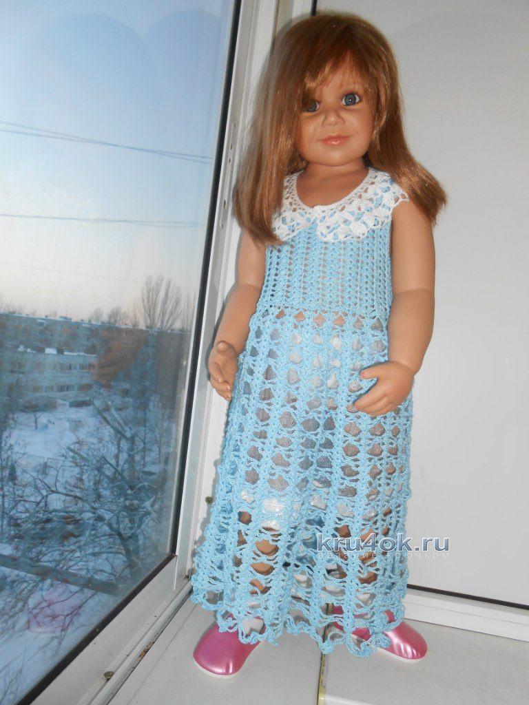 расклешённое детское платье спицами виза