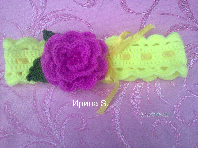 Вязание крючком цветов для повязок 902