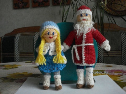 Дед Мороз и Снегрурочка крючком